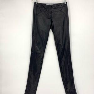 Diane Von Furstenberg Black Wet Look Legging Pants